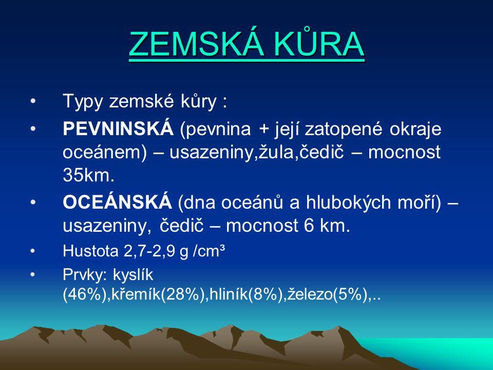 ZEMSKÁ KŮRA Typy zemské kůry :