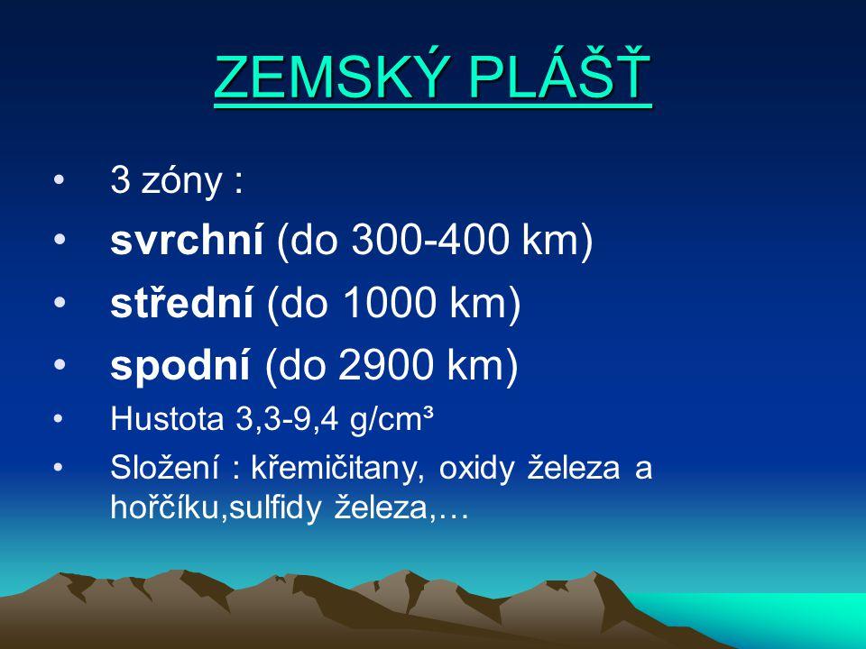 ZEMSKÝ PLÁŠŤ svrchní (do 300-400 km) střední (do 1000 km)