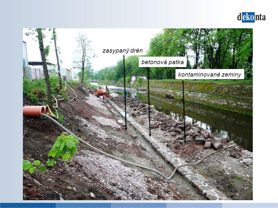 zasypaný drén betonová patka kontaminované zeminy