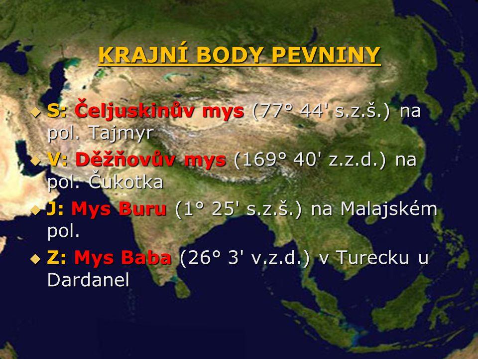 KRAJNÍ BODY PEVNINY S: Čeljuskinův mys (77° 44 s.z.š.) na pol. Tajmyr