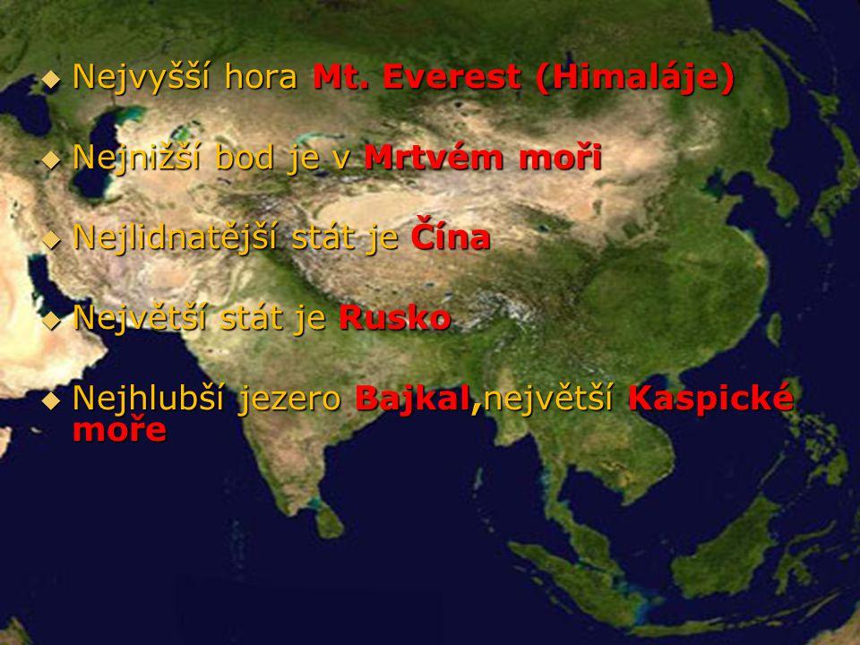Geografie Asie Nejvyšší hora Mt. Everest (Himaláje)