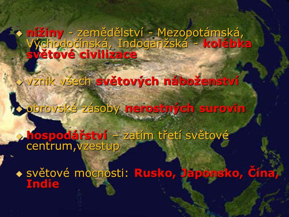 nížiny - zemědělství - Mezopotámská, Východočínská, Indoganžská - kolébka světové civilizace