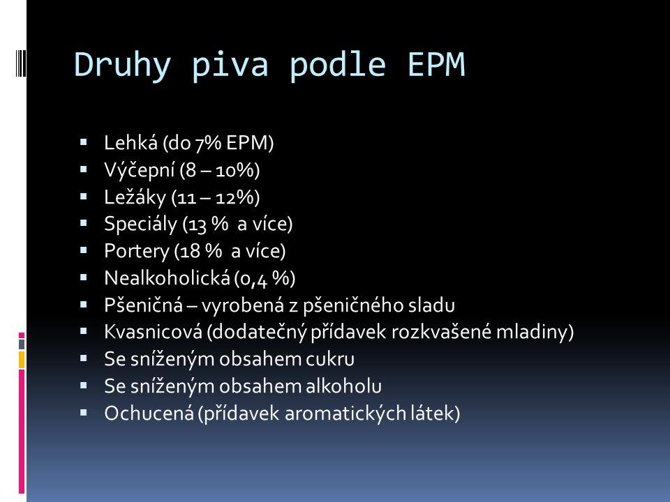 Druhy piva podle EPM Lehká (do 7% EPM) Výčepní (8 – 10%)
