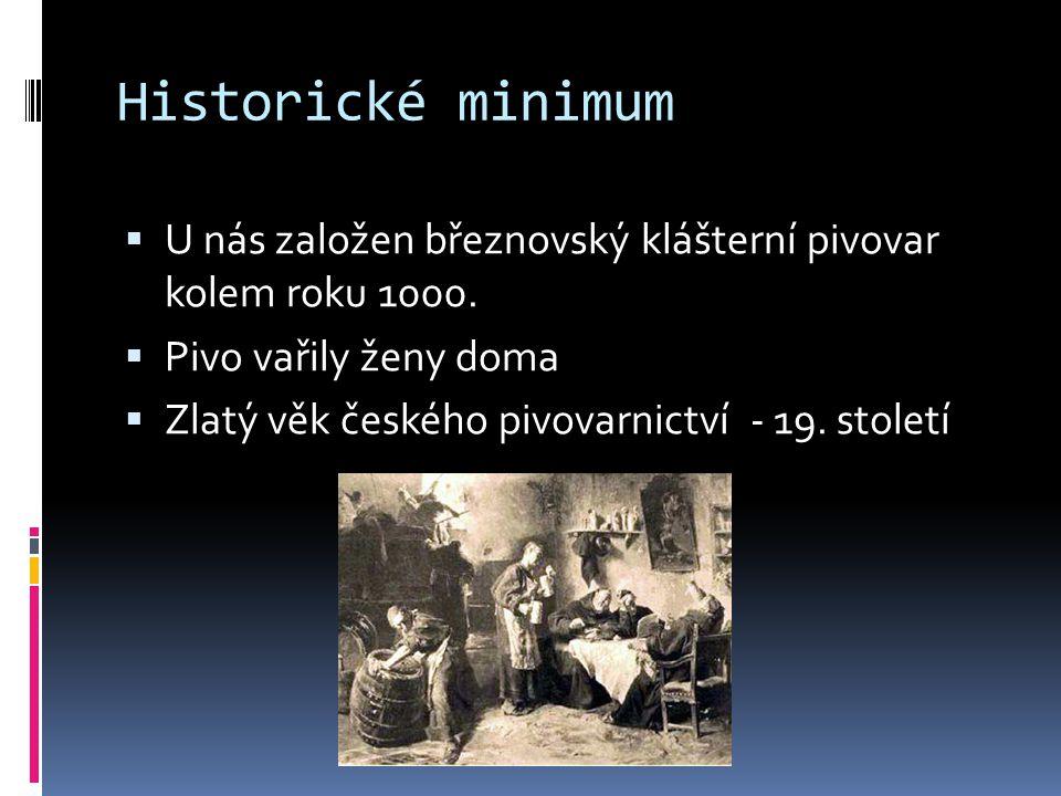 Historické minimum U nás založen březnovský klášterní pivovar kolem roku 1000. Pivo vařily ženy doma.