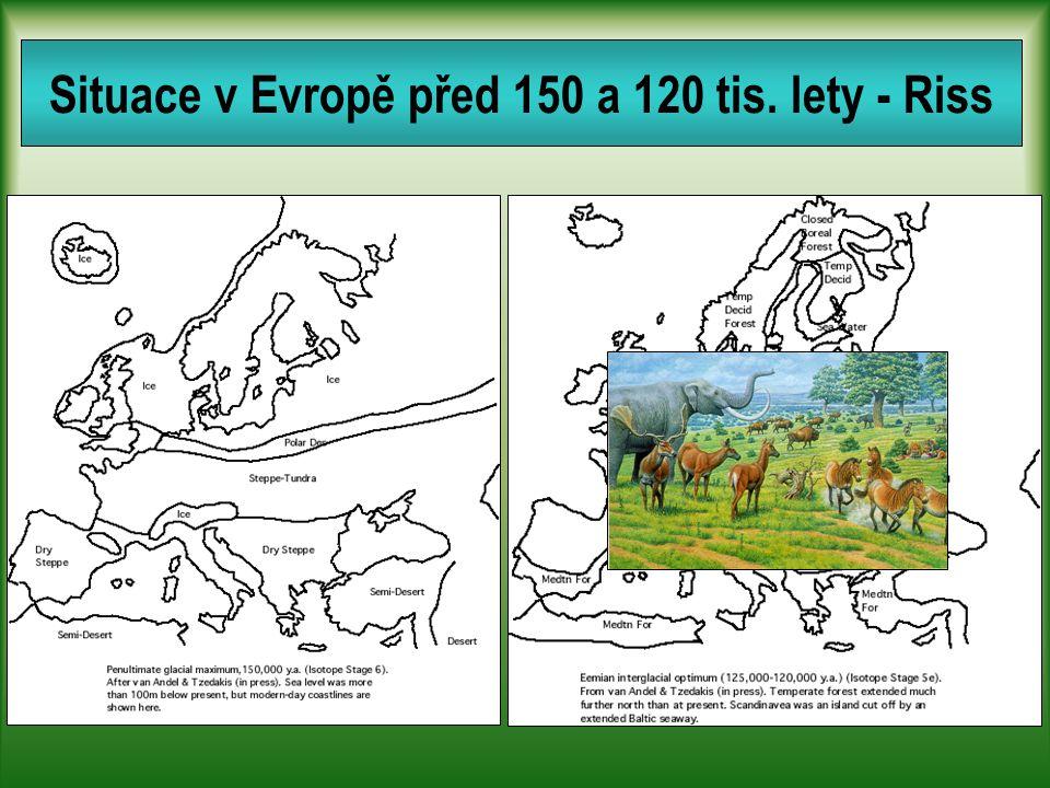 Situace v Evropě před 150 a 120 tis. lety - Riss