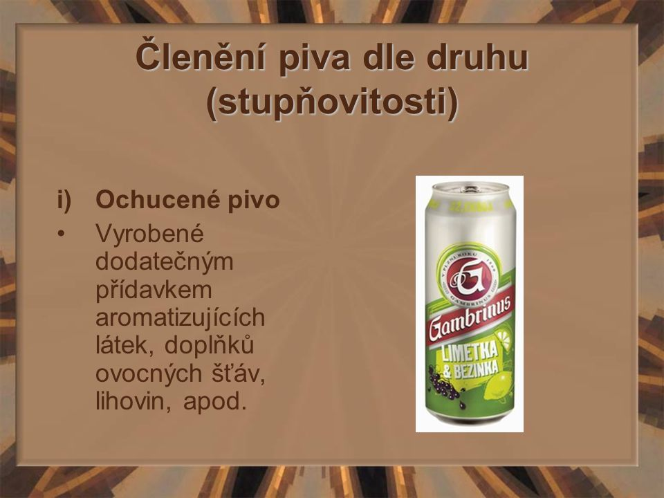 Členění piva dle druhu (stupňovitosti)
