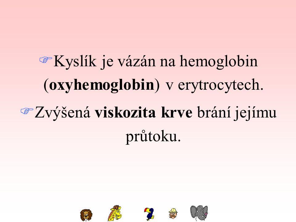Kyslík je vázán na hemoglobin (oxyhemoglobin) v erytrocytech.