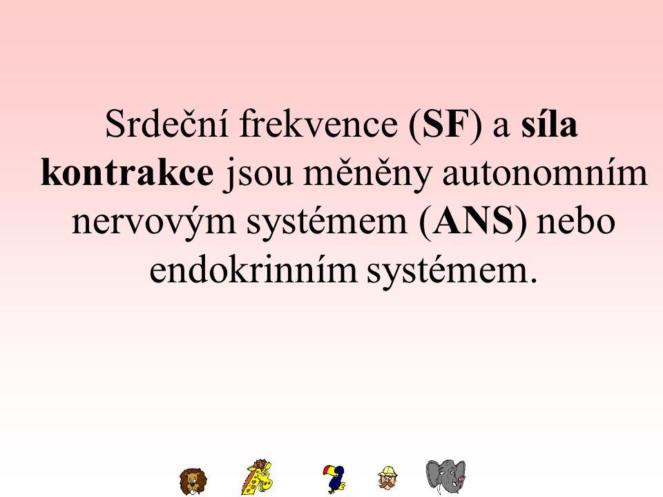 Srdeční frekvence (SF) a síla kontrakce jsou měněny autonomním nervovým systémem (ANS) nebo endokrinním systémem.
