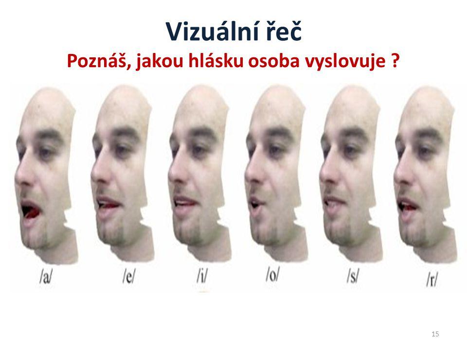 Vizuální řeč Poznáš, jakou hlásku osoba vyslovuje