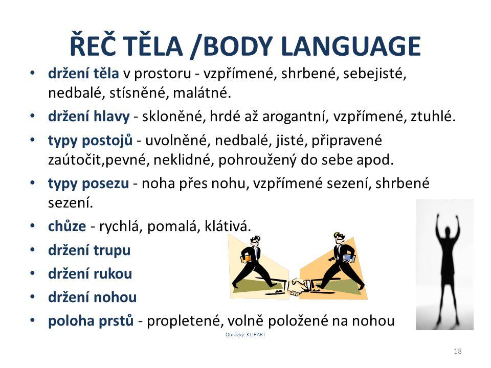 ŘEČ TĚLA /BODY LANGUAGE