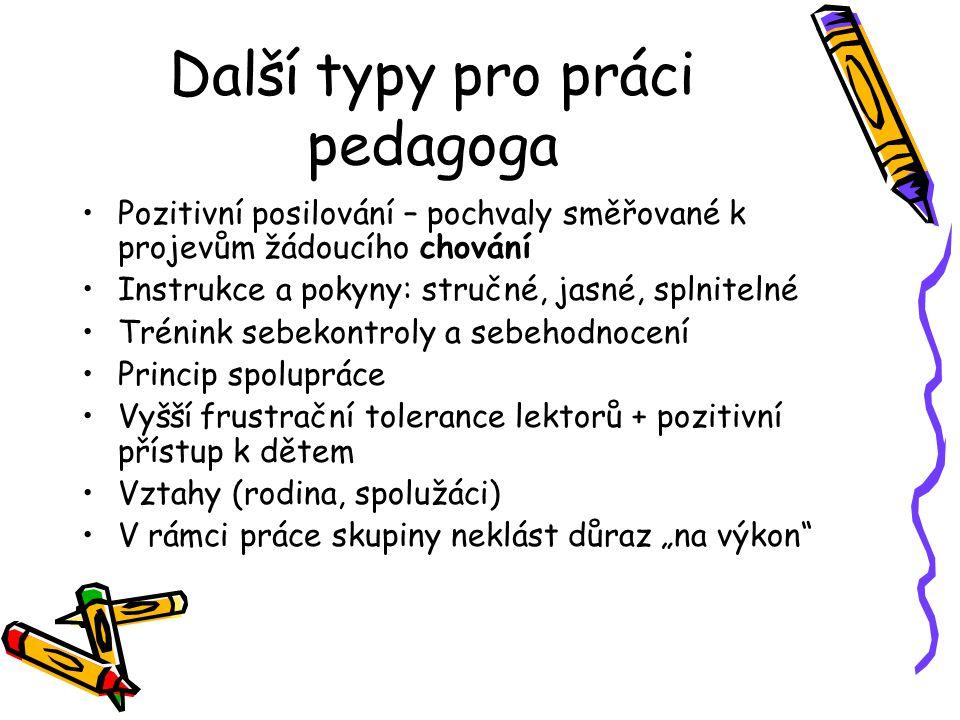 Další typy pro práci pedagoga