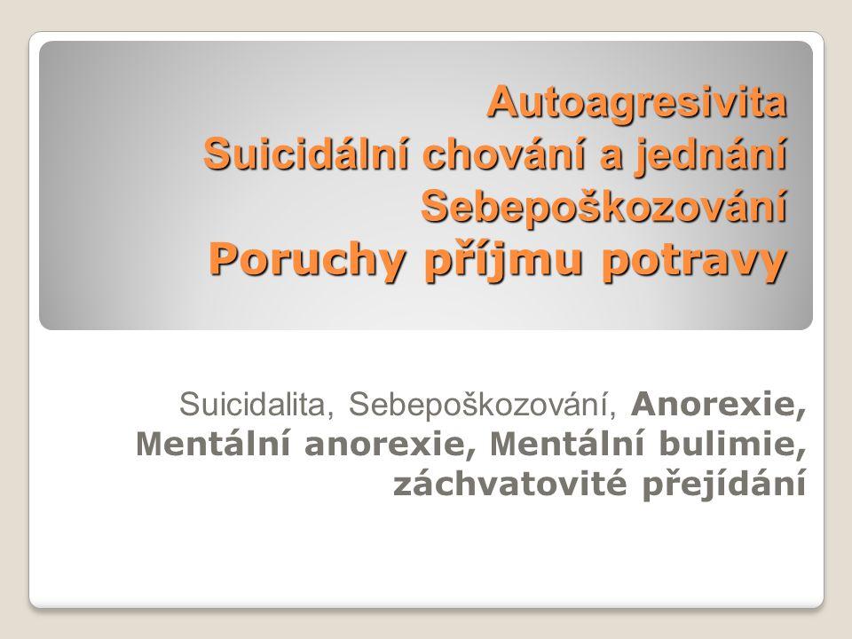 Autoagresivita Suicidální chování a jednání Sebepoškozování Poruchy příjmu potravy