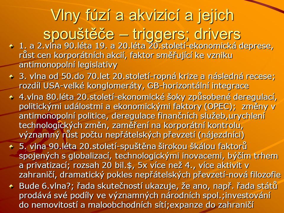 Vlny fúzí a akvizicí a jejich spouštěče – triggers; drivers