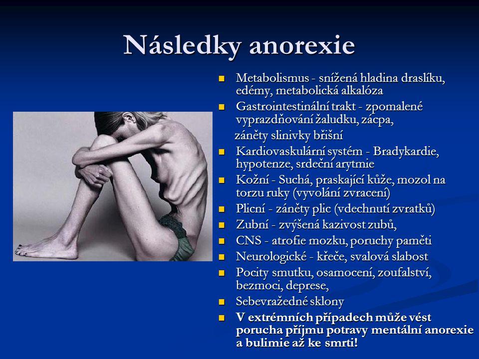 Následky anorexie Metabolismus - snížená hladina draslíku, edémy, metabolická alkalóza.