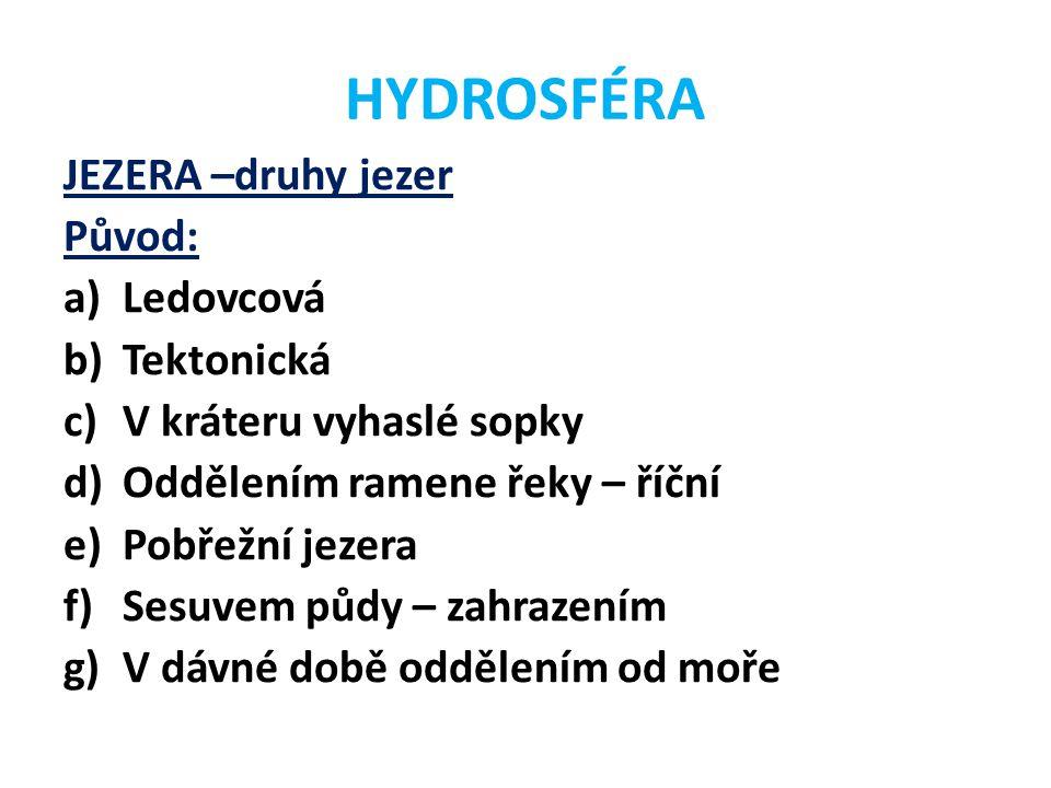 HYDROSFÉRA JEZERA –druhy jezer Původ: Ledovcová Tektonická