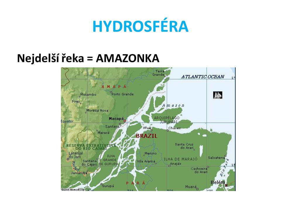 HYDROSFÉRA Nejdelší řeka = AMAZONKA