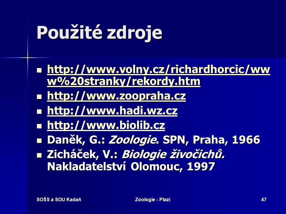 Použité zdroje http://www.volny.cz/richardhorcic/www%20stranky/rekordy.htm. http://www.zoopraha.cz.