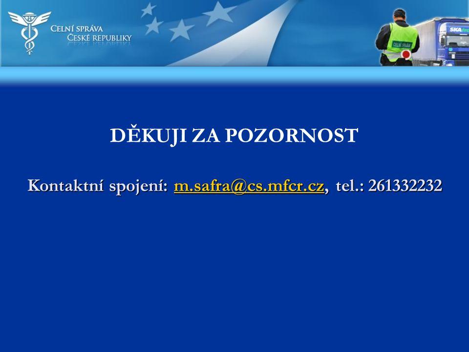 Kontaktní spojení: m.safra@cs.mfcr.cz, tel.: 261332232