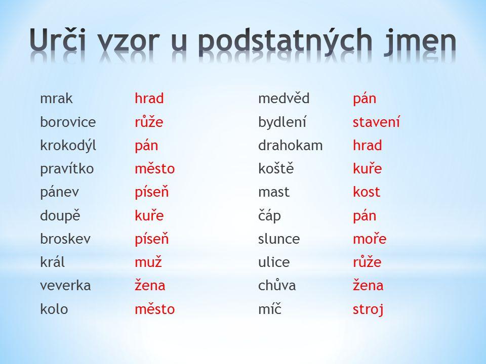 Urči vzor u podstatných jmen