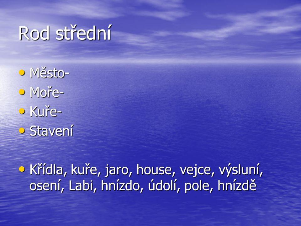 Rod střední Město- Moře- Kuře- Stavení