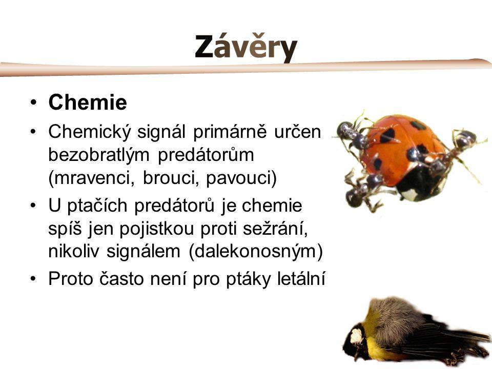 Závěry Chemie. Chemický signál primárně určen bezobratlým predátorům (mravenci, brouci, pavouci)