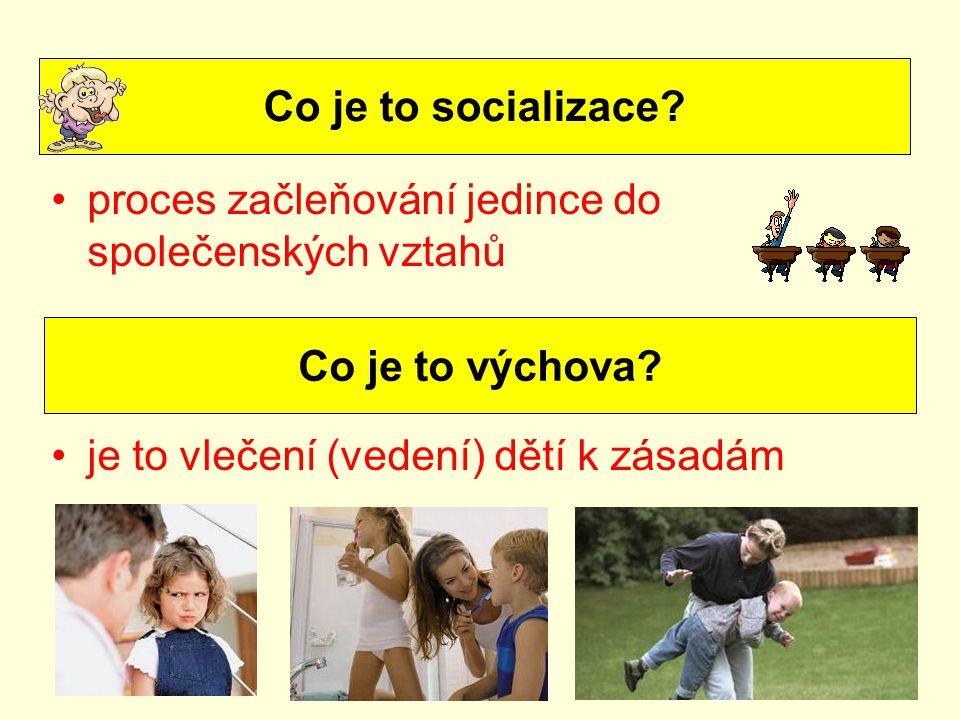 Co je to socializace proces začleňování jedince do společenských vztahů. je to vlečení (vedení) dětí k zásadám.