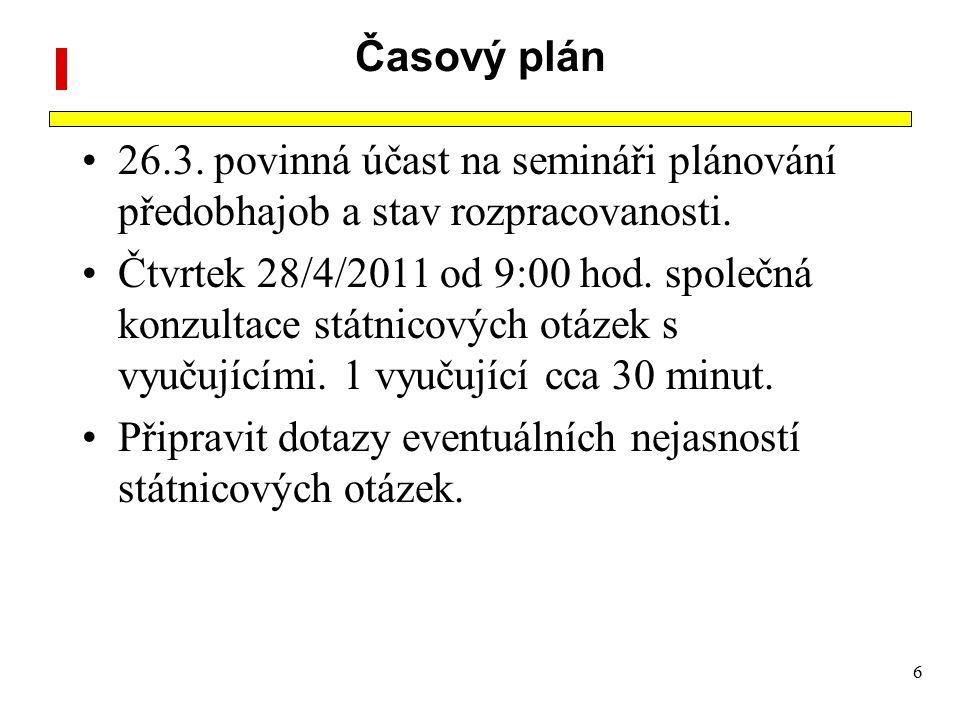 Časový plán 26.3. povinná účast na semináři plánování předobhajob a stav rozpracovanosti.