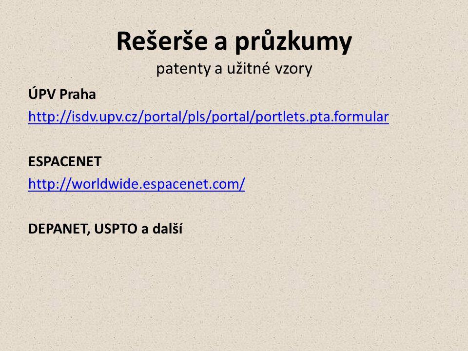 Rešerše a průzkumy patenty a užitné vzory