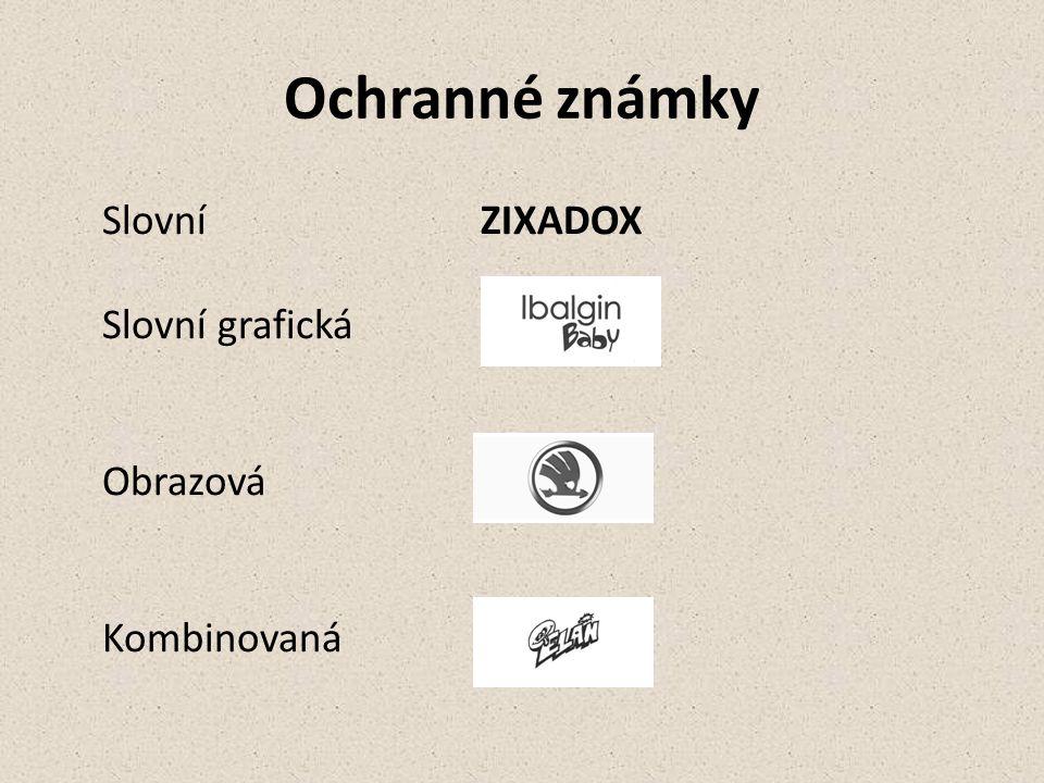 Ochranné známky Slovní ZIXADOX Slovní grafická Obrazová Kombinovaná