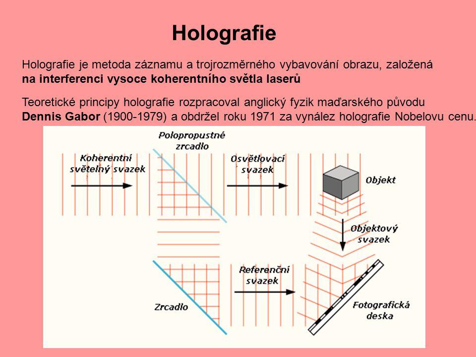 Holografie Holografie je metoda záznamu a trojrozměrného vybavování obrazu, založená na interferenci vysoce koherentního světla laserů.