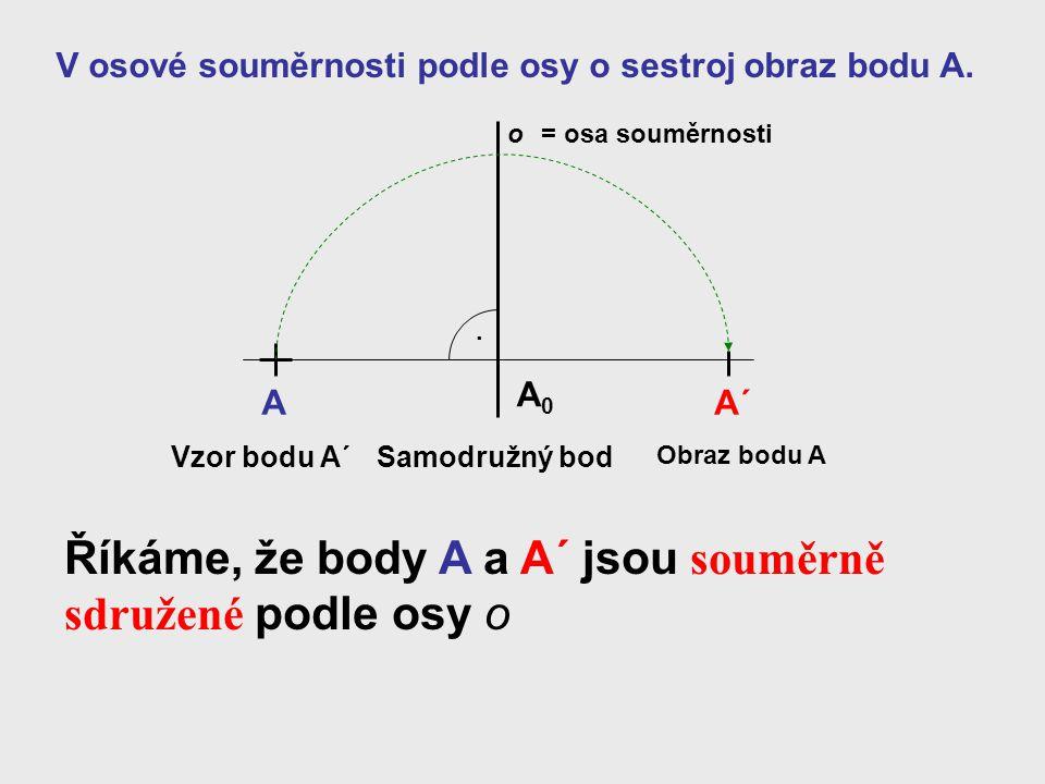 Říkáme, že body A a A´ jsou souměrně sdružené podle osy o