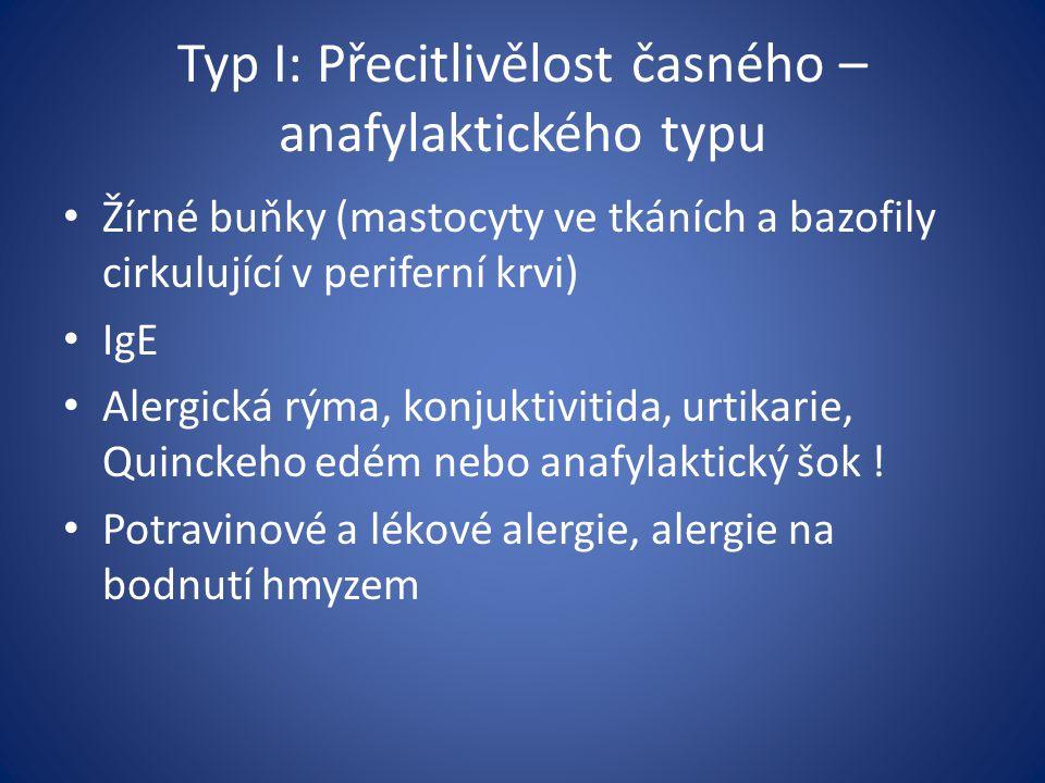 Typ I: Přecitlivělost časného – anafylaktického typu