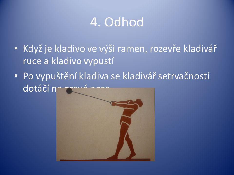 4. Odhod Když je kladivo ve výši ramen, rozevře kladivář ruce a kladivo vypustí.
