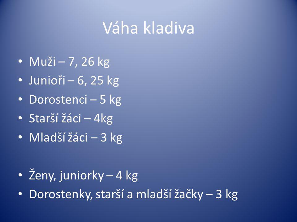 Váha kladiva Muži – 7, 26 kg Junioři – 6, 25 kg Dorostenci – 5 kg