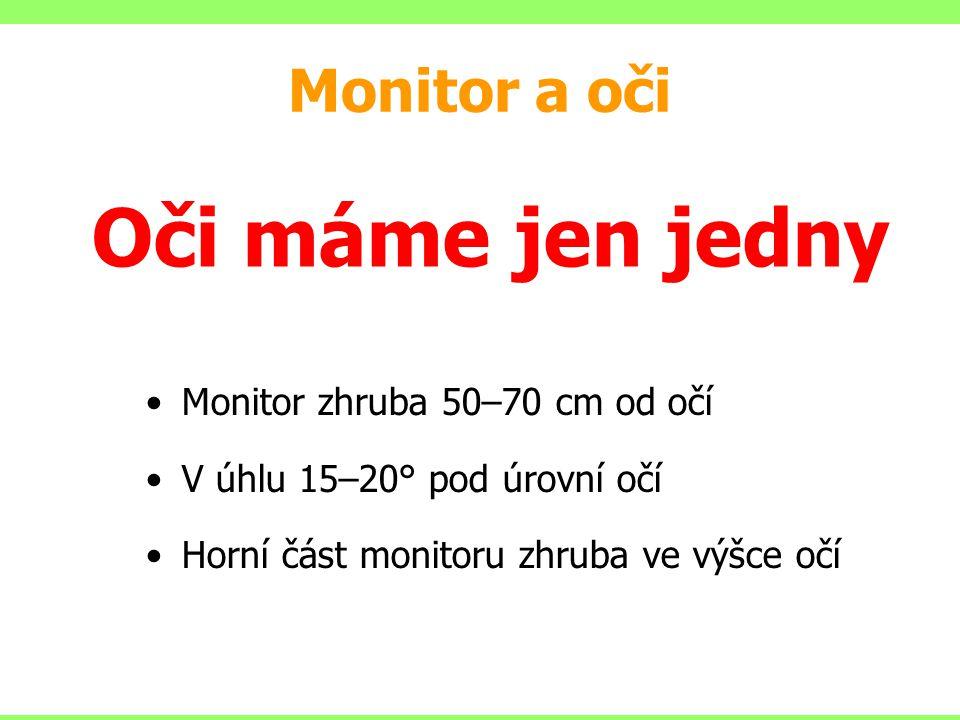 Oči máme jen jedny Monitor a oči Monitor zhruba 50–70 cm od očí