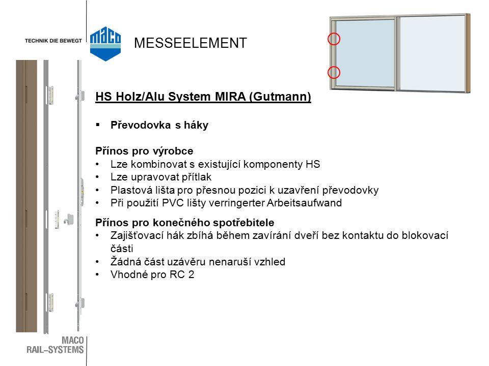 MESSEELEMENT HS Holz/Alu System MIRA (Gutmann) Převodovka s háky