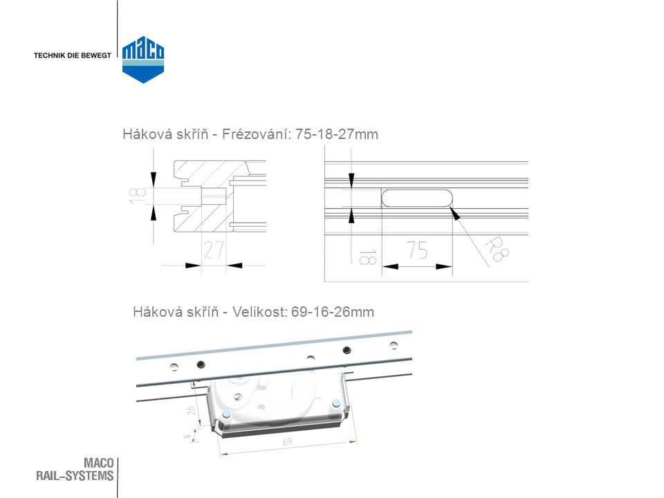 Háková skříň - Frézování: 75-18-27mm