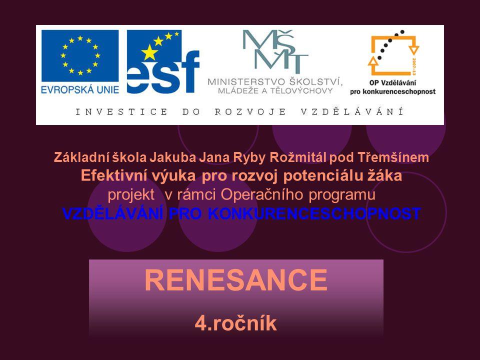 RENESANCE 4.ročník Efektivní výuka pro rozvoj potenciálu žáka