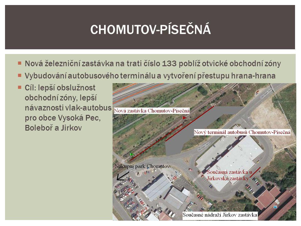 CHOMUTOV-PÍSEČNÁ Nová železniční zastávka na trati číslo 133 poblíž otvické obchodní zóny.