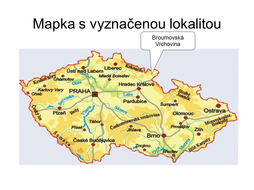 Mapka s vyznačenou lokalitou