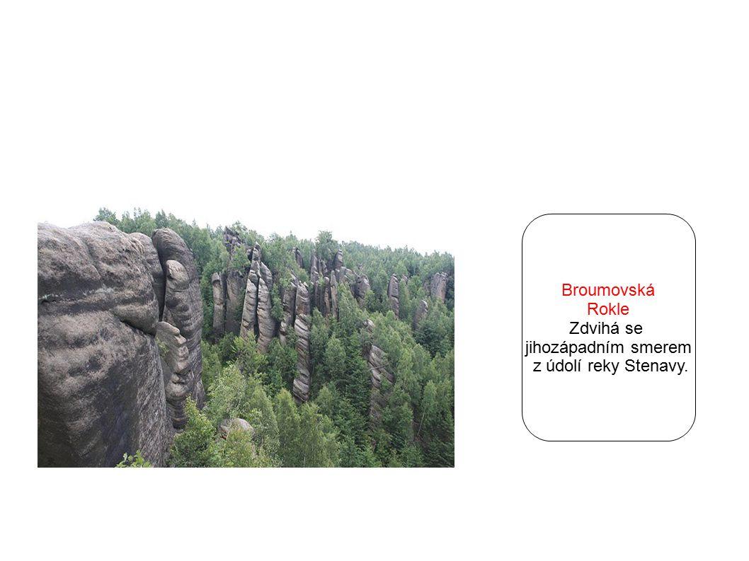 Broumovská Rokle Zdvihá se jihozápadním smerem z údolí reky Stenavy.