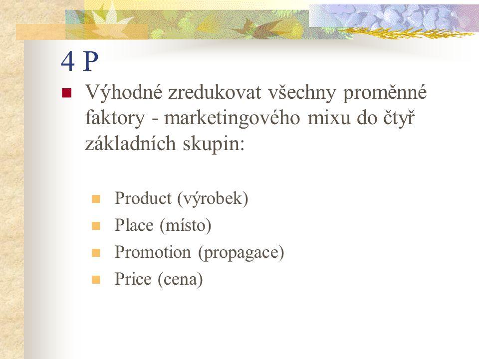 4 P Výhodné zredukovat všechny proměnné faktory - marketingového mixu do čtyř základních skupin: Product (výrobek)