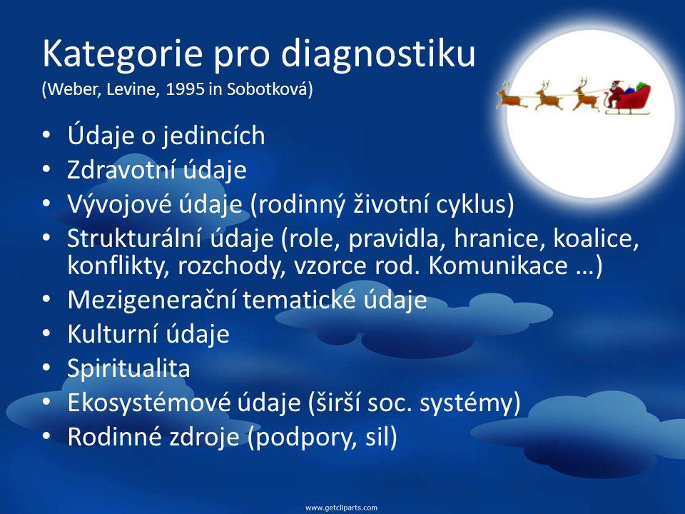 Kategorie pro diagnostiku (Weber, Levine, 1995 in Sobotková)