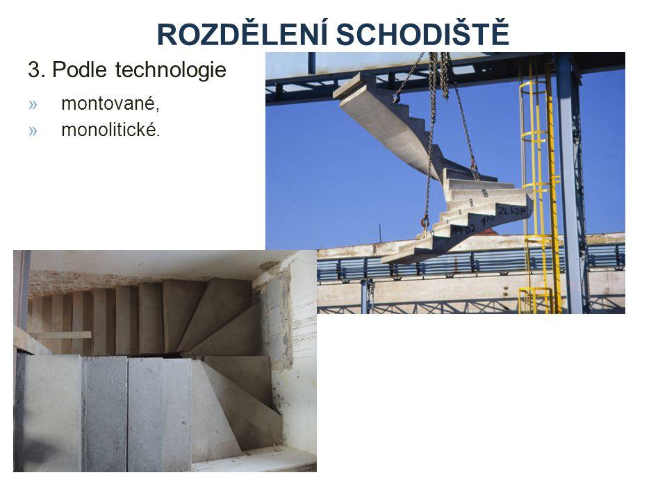 rozdělení schodiště 3. Podle technologie montované, monolitické.