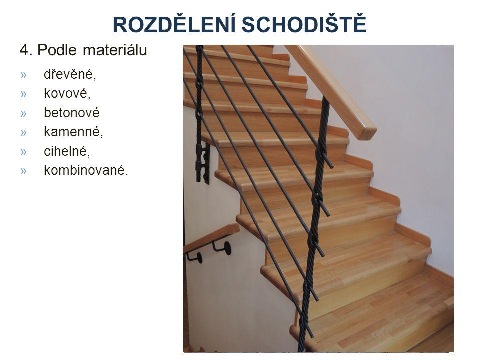rozdělení schodiště 4. Podle materiálu dřevěné, kovové, betonové