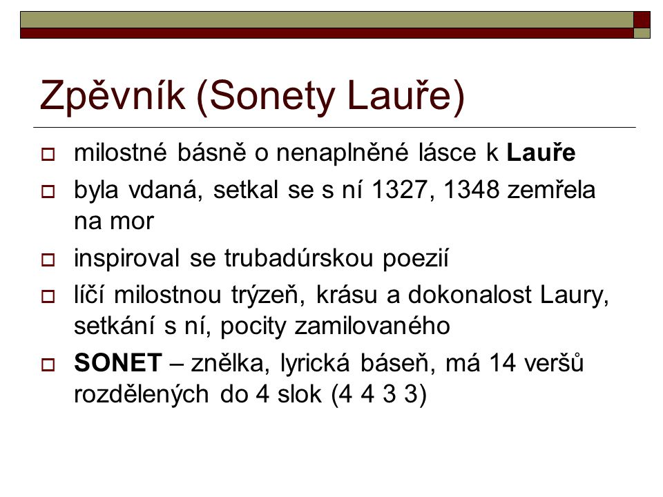 Zpěvník (Sonety Lauře)