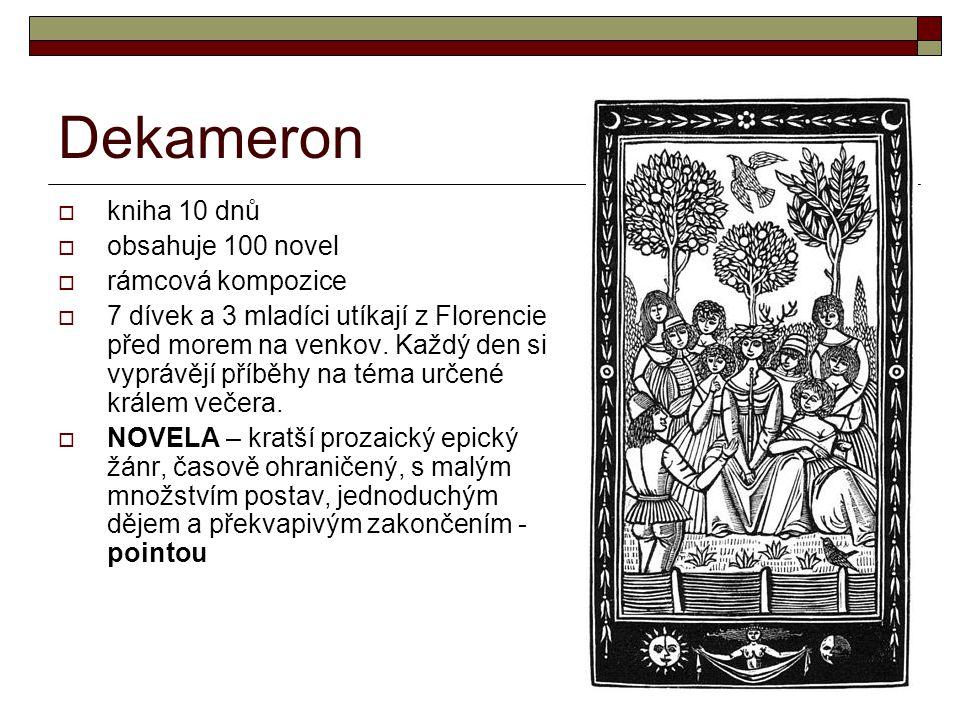 Dekameron kniha 10 dnů obsahuje 100 novel rámcová kompozice
