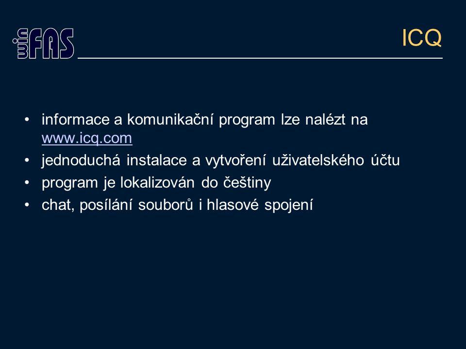 ICQ informace a komunikační program lze nalézt na www.icq.com