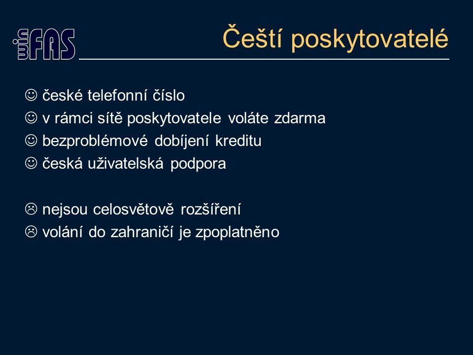 Čeští poskytovatelé české telefonní číslo