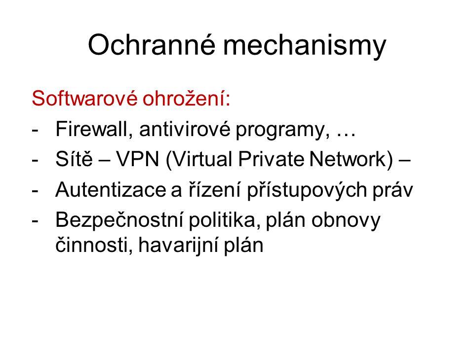 Ochranné mechanismy Softwarové ohrožení: